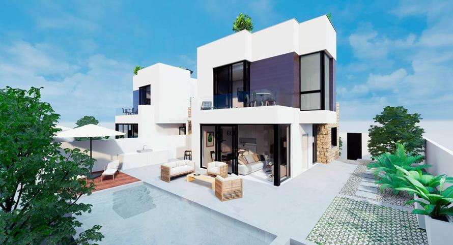 New Construction - villa with private pool and solarium, 900 m from the beach in Aguas Nuevas - Torrevieja Villa Torrevieja