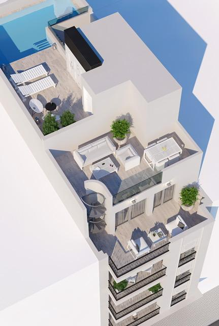 New Construction - 3 bedroom penthouse with communal pool in the center of Torrevieja Penthouse Torrevieja
